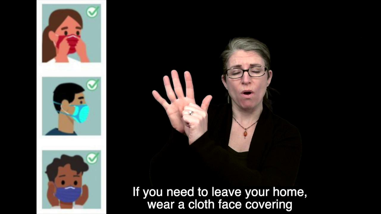 American Sign Language (ASL) Video: Using Cloth Face Coverings to Help Slow the Spread of COVID-19 Thumbnail